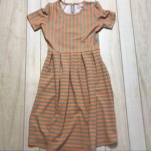 Lularoe Amelia Orange & Teal Striped Dress